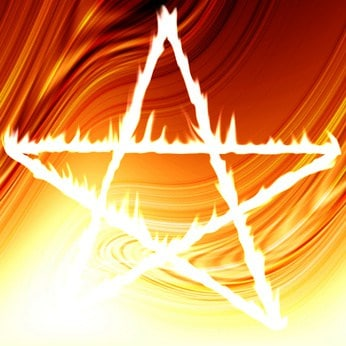 Pentagram on fire on an abstract red background