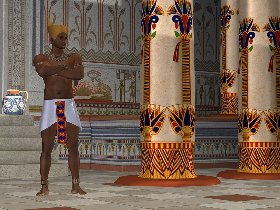 A handsome Egyptian king stands in his palace surrounded by opulence and beautiful hieroglyphics.